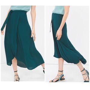 White House Black Market Green Wrap Maxi Skirt